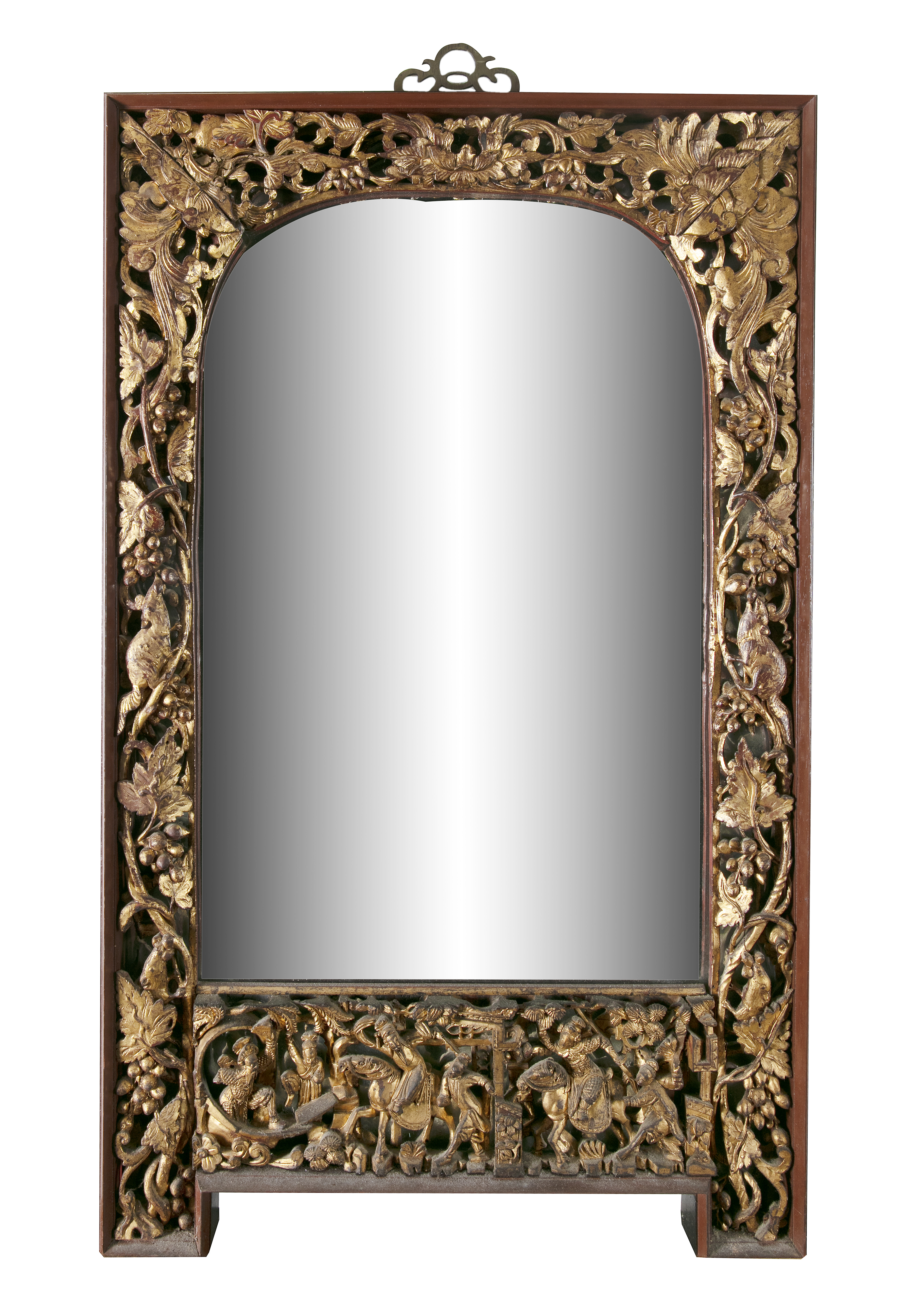 A PARCEL GILT-LACQUERED 'SQUIRRELS AND GRAPES' RETICULATED WOODEN FRAME SET WITH A MIRROR, Vietnam/
