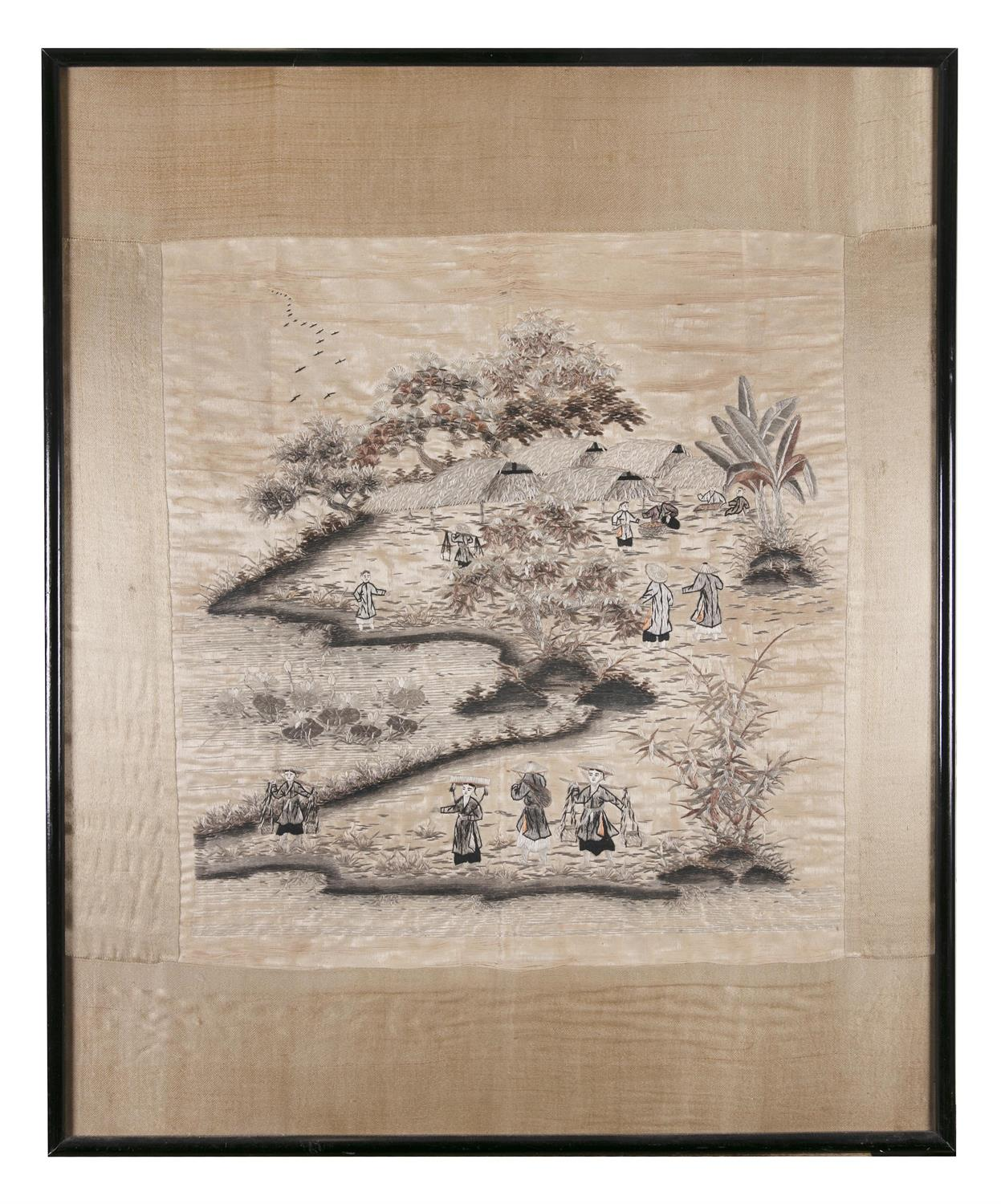 A 'PROCESSION' EMBROIDERED SILK PANEL Vietnam / Indochina, 20th century 48,5 x 46 cm TRANH LỤA - Image 5 of 6