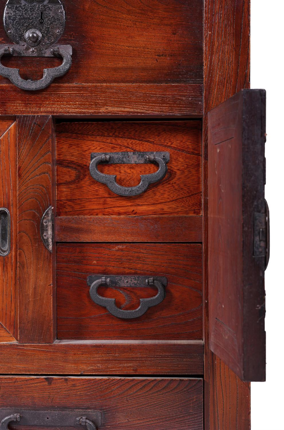 .A KEYAKI AND HINOKI WOOD DOCUMENT CHEST, CHOBA DANSU Japan, Meiji period The front part opening - Image 2 of 3
