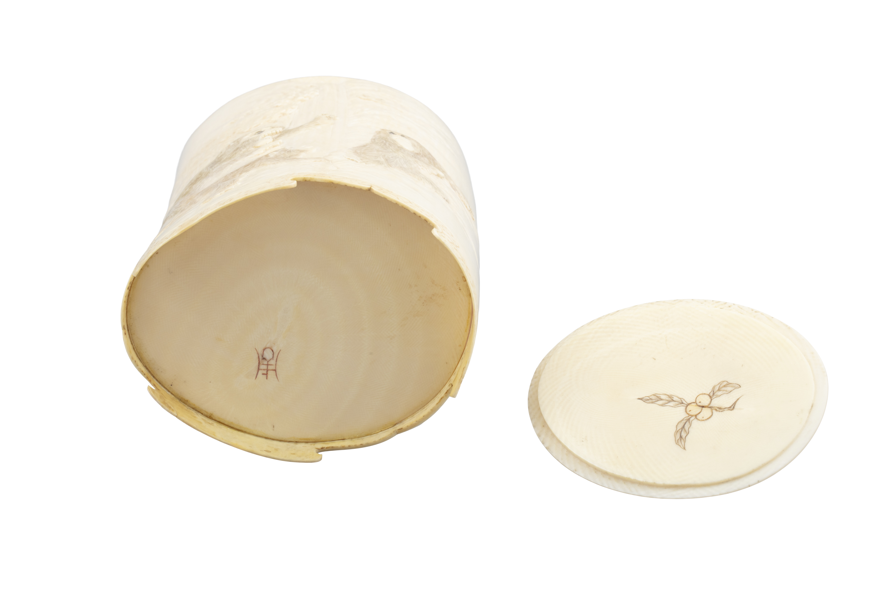 *AN IVORY 'MONKEYS AND EAGLE' BOX AND COVER Japan, Meiji period The outer is adorned in low-relief - Image 4 of 8