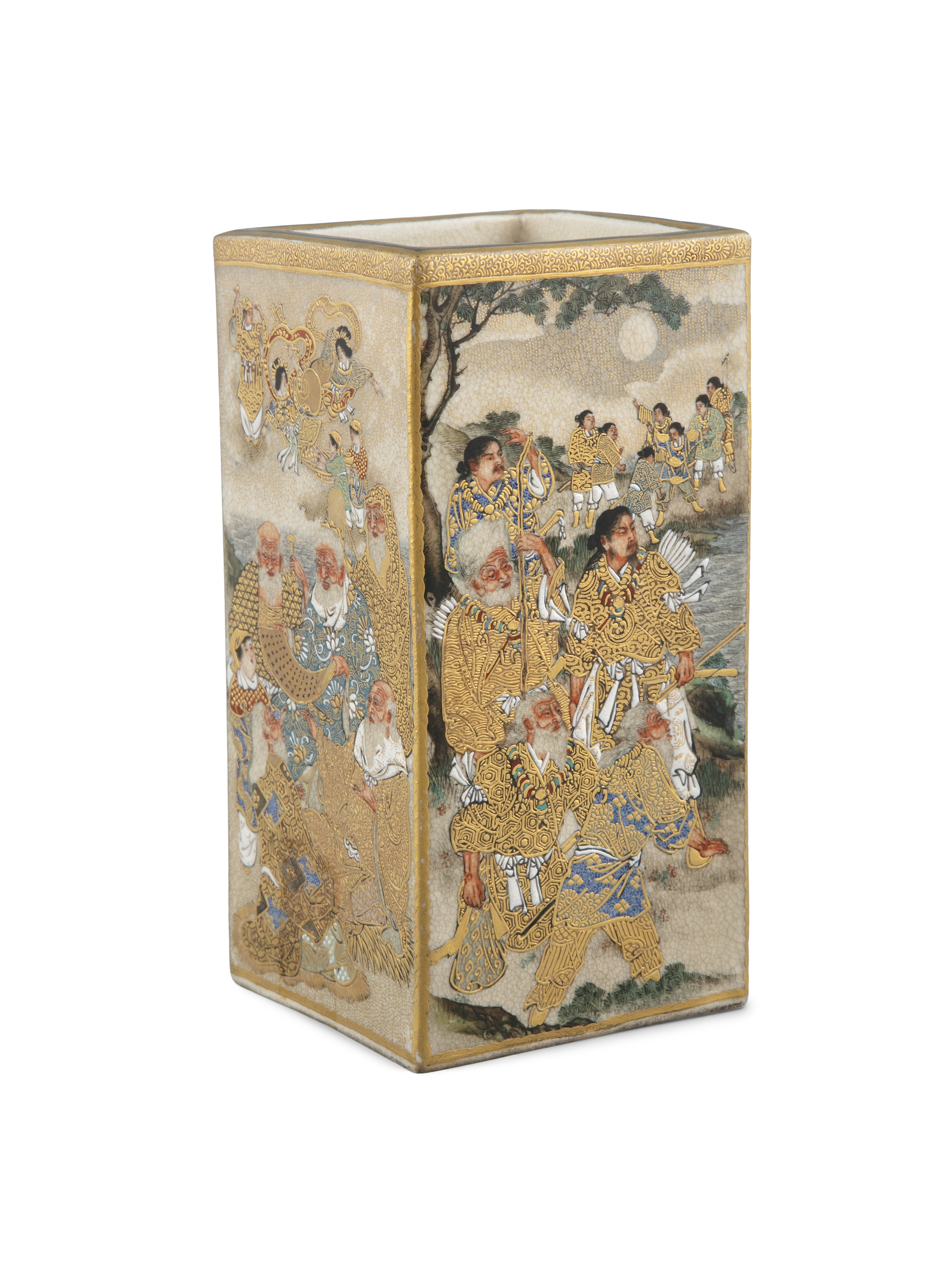 A SATSUMA 'WARRIORS' SQUARE POT POSSIBLY BY RYUZAN 龍山 Japan, Meiji period Richly adorned in gilt and - Image 2 of 14