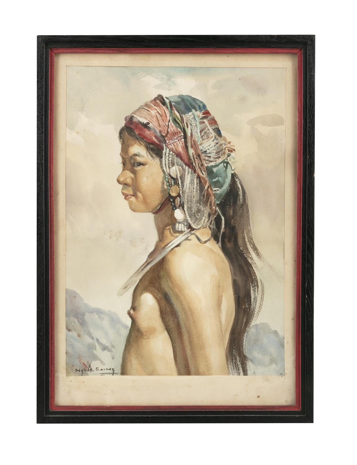 U Ngwe Gaing ငွေကိုင် (1901-1967) Portrait of a young girl from a tribe Mixed media, watercolour - Image 4 of 8