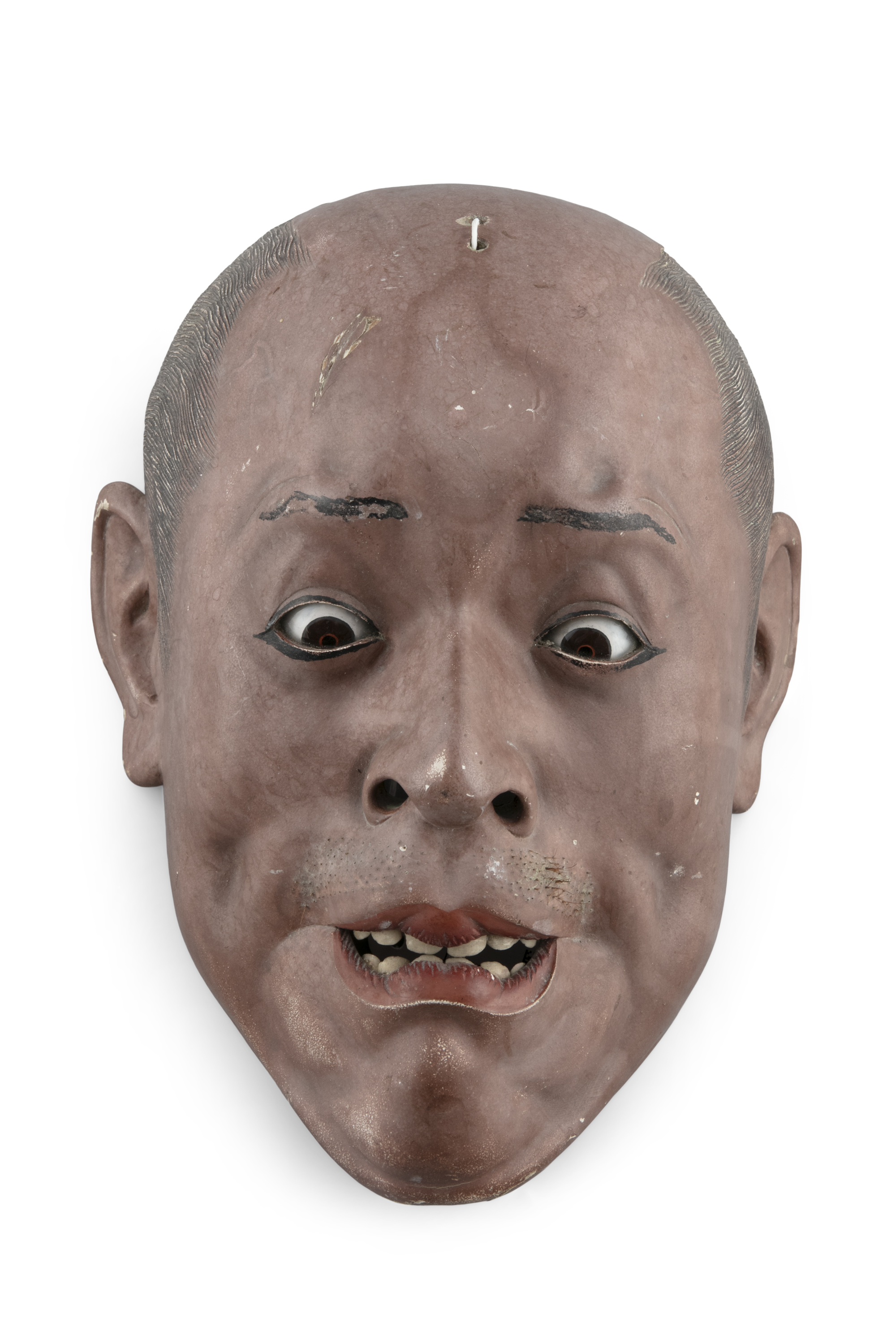 AN IKI NINGYO MASK OF A GRIMACING MAN Japan, 19th century Lacquered wooden mask with lively glass