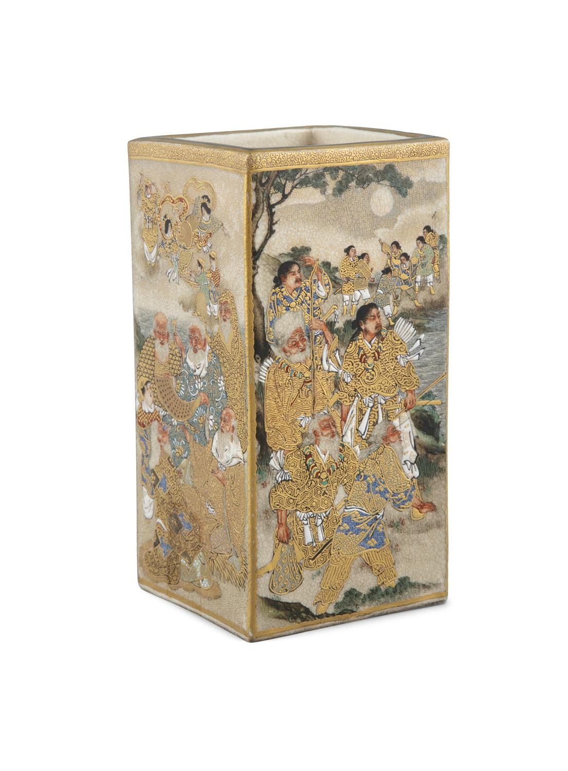 A SATSUMA 'WARRIORS' SQUARE POT POSSIBLY BY RYUZAN 龍山 Japan, Meiji period Richly adorned in gilt and - Image 4 of 14