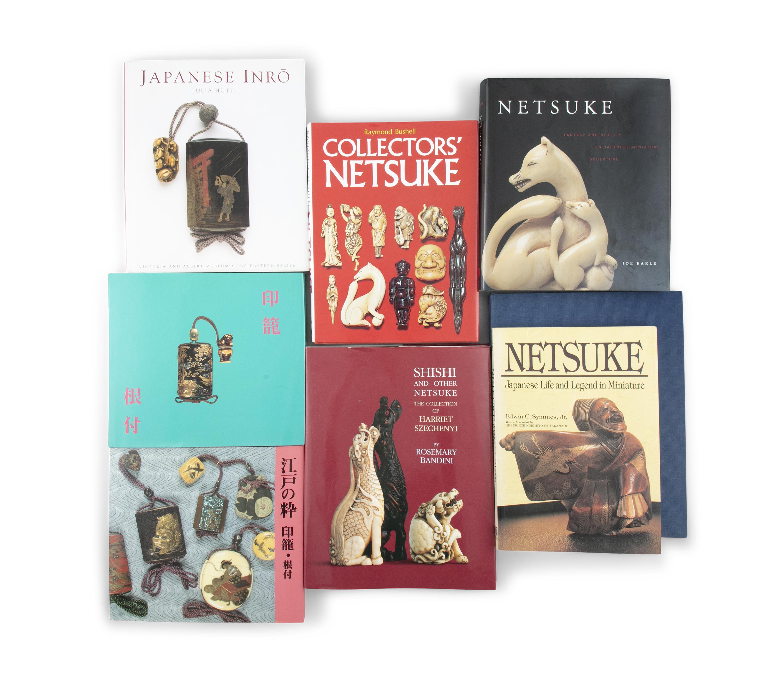 A DOCUMENTATION / GROUP OF NINE (9) BOOKS ON JAPANESE INRO AND NETSUKE 20th century,