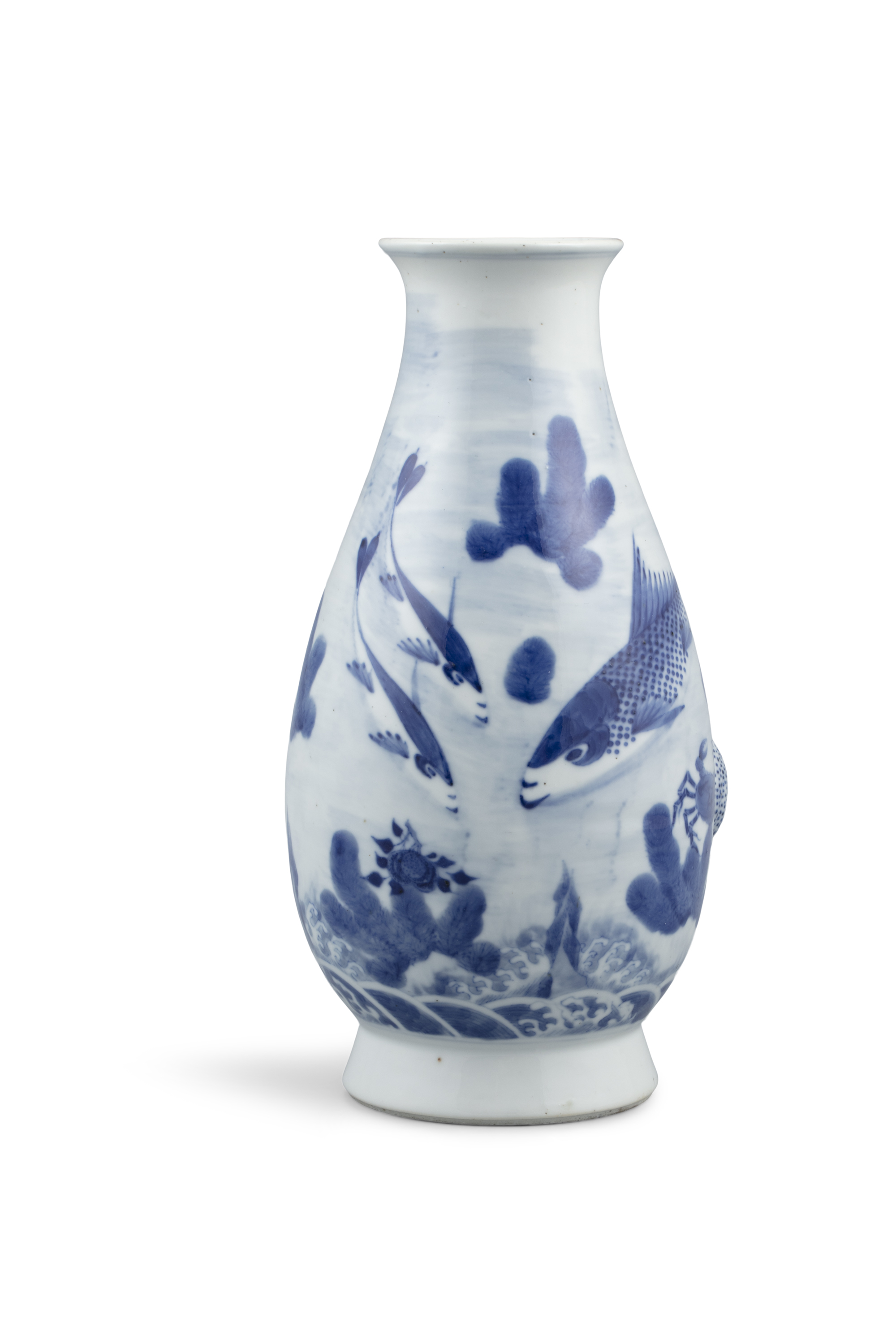 A BLUE AND WHITE 'CARPS AND CRAB' PORCELAIN BOTTLE VASE Most probably Japan, Meiji to Showa period