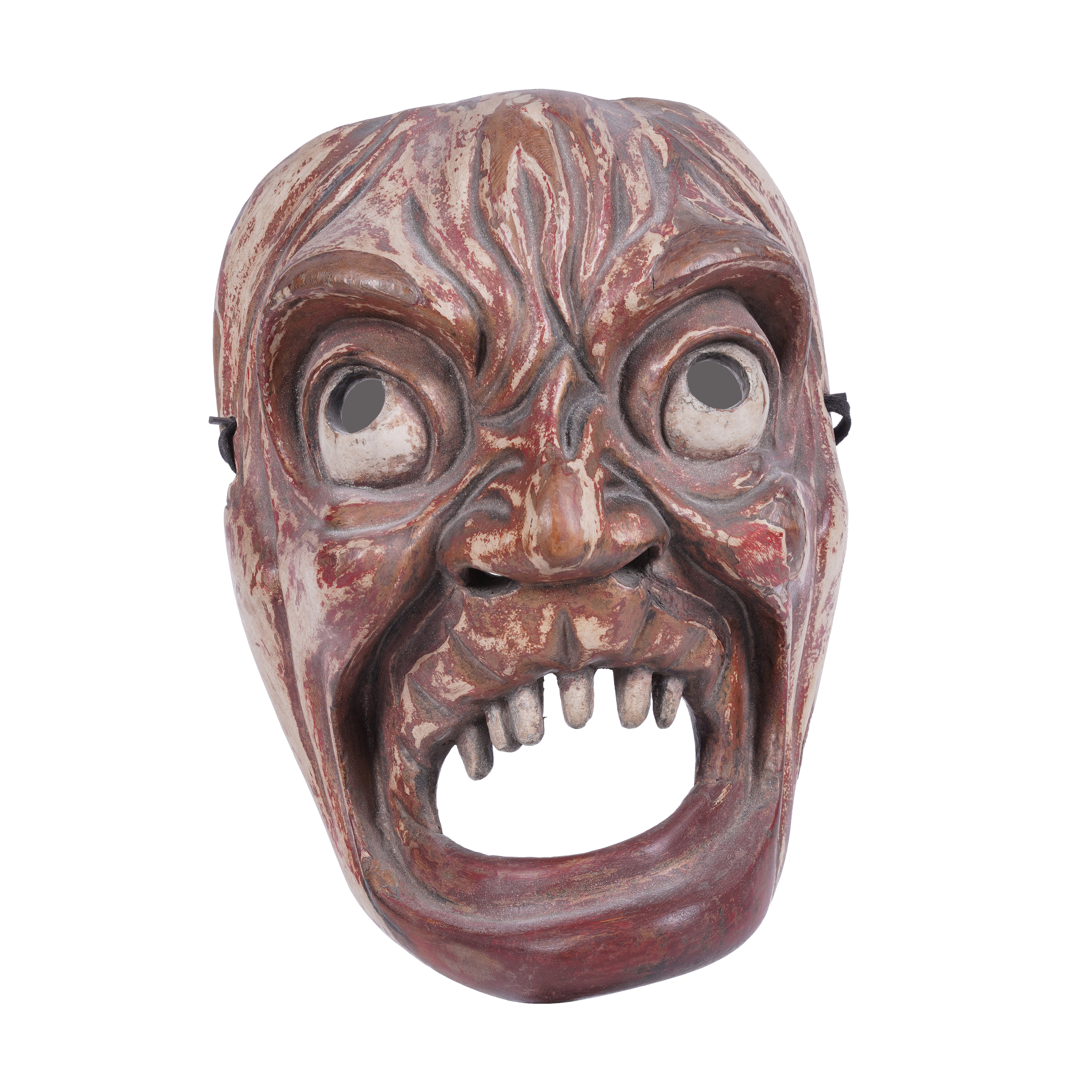 .A LACQUERED 'TOOTHLESS' WOODEN MASK Japan, 19th century H: 22 cm - w: 16 cm Provenance: A curated