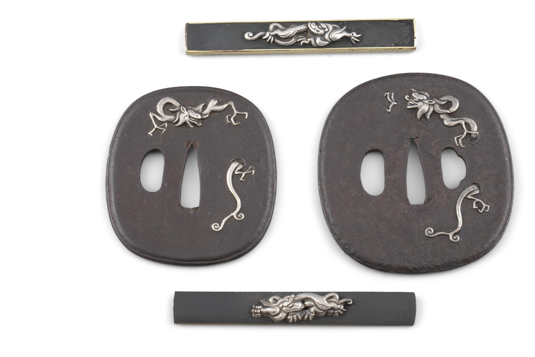 A PAIR OF 'RAIN DRAGONS' WROUGHT-IRON TSUBAS Japan, 19th century The first one for a katana, - Image 2 of 2