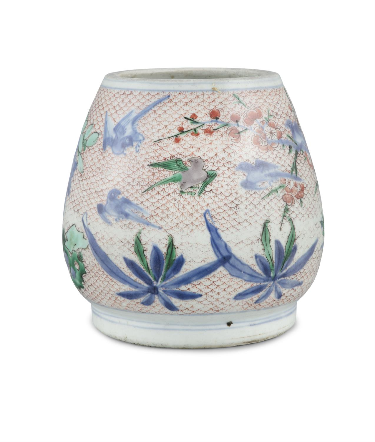 AN IMARI-PALETTE EGG-SHAPED 'MAGPIES AND PLUM' PORCELAIN WATER POT Japan, Meiji period Richly - Image 4 of 6