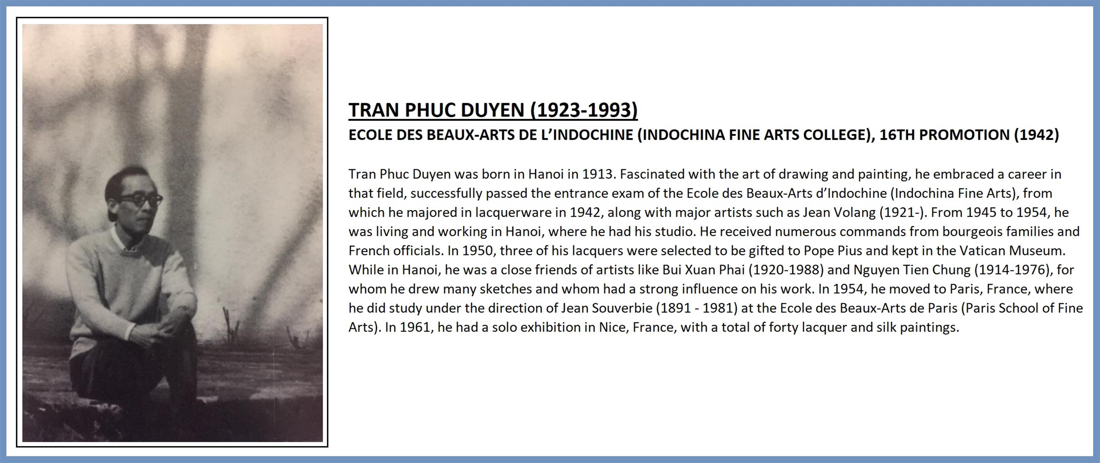 TRAN PHUC DUYEN (1923-1993) ECOLE DES BEAUX-ARTS DE L'INDOCHINE (INDOCHINA FINE ARTS COLLEGE), - Image 7 of 12
