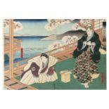 GOSÔTEI HIROSADA 五粽亭小西廣貞(Active 1826-1863) Mimasu Daigorô IV as Sadaka, and Nakayama Nanshi II as