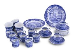 A COPELAND SPODE'S ITALIAN PATTERN COFFEE SERVICE, in blue and white, comprising twelve saucers