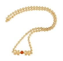 A CORAL AND GOLD NECKLACE, BY CARTIER The circular-link row necklace, set with two polished