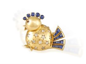 A SAPPHIRE, RUBY AND DIAMOND DRESS CLIP BROOCH, BY VAN CLEEF & ARPELS, CIRCA 1945 Designed as an