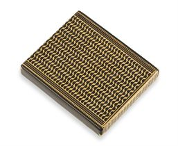 AN ENAMEL AND GOLD CIGARETTE CASE, CIRCA 1955 The hinged flip top decorated with rows of arched