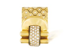 A DIAMOND AND ENAMEL 'LUDO HEXAGONE' DRESS CLIP, BY VAN CLEEF & ARPELS, CIRCA 1937 Designed as a