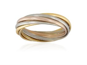 A TRI-COLOURED 'TRINITY' GOLD RING, BY CARTIER Composed of seven interlocking hoops of rose,