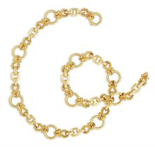 A GOLD NECKLACE, BY HERMÈS, CIRCA 1970 Composed of circular polished gold links interspersed by