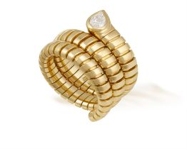 A DIAMOND 'TUBOGAS SERPENTI' RING, BY BULGARI Composed of a gold sprung gas-pipe link hoop,