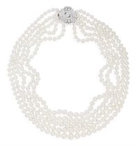 A CULTURED PEARL NECKLACE WITH DIAMOND CLASP, CIRCA 1960 Composed of five rows of graduated