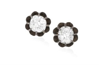A PAIR OF 19TH CENTURY EARSTUDS, CIRCA 1890 Each old cushion-shaped diamond within multiple