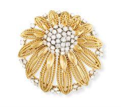 A DIAMOND BROOCH, BY RAYMOND TEMPLIER, CIRCA 1958 Composed of a stylised flowerhead,