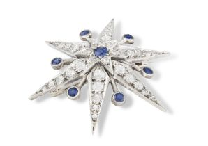 A LATE 19TH CENTURY DIAMOND AND SAPPHIRE BROOCH, CIRCA 1890 The six-rayed star set throughout