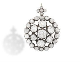 A FINE LATE 19TH CENTURY DIAMOND PENDANT, CIRCA 1890 Composed of a central old cushion-shaped