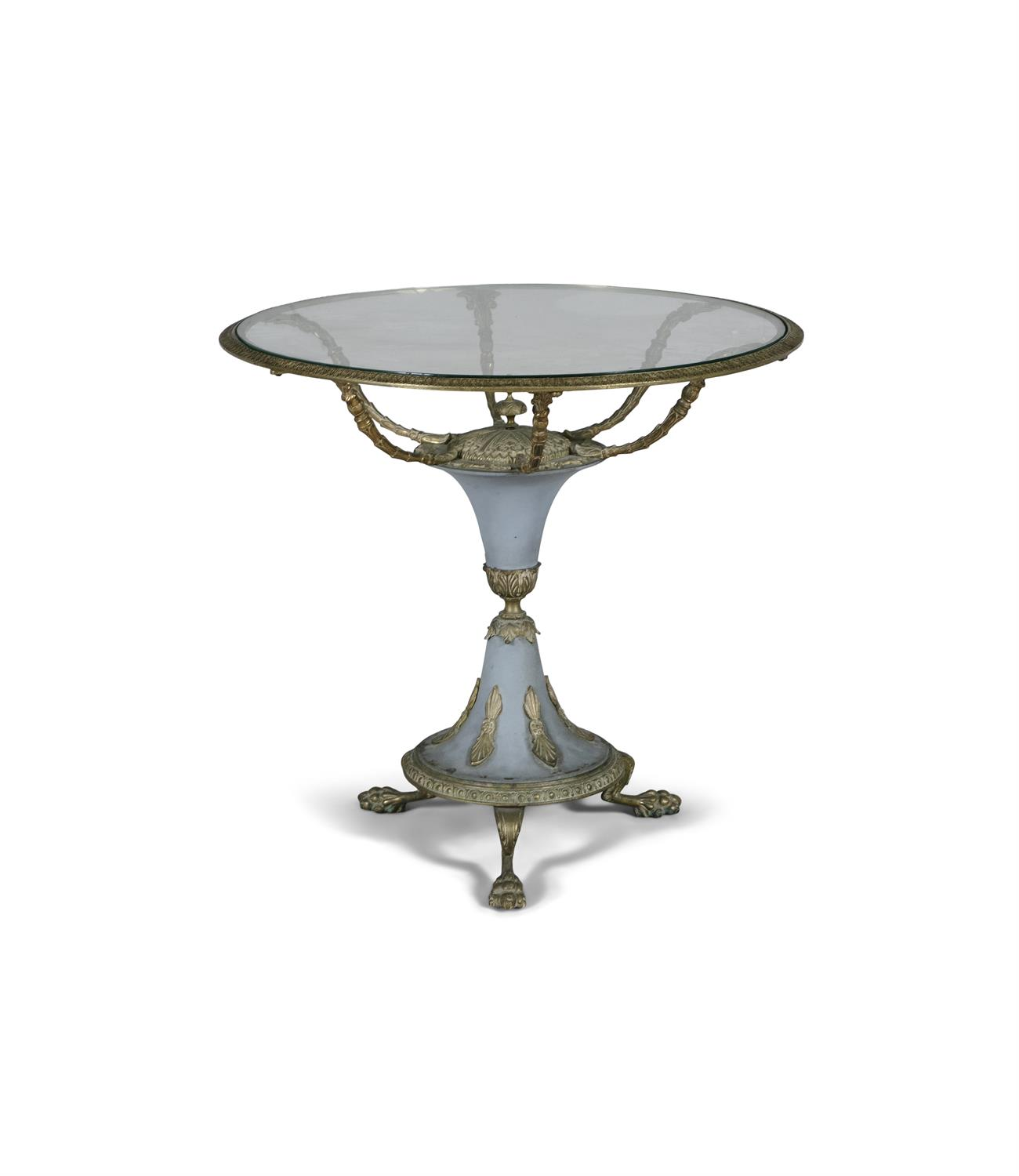 A FRENCH GILT METAL GLASS TOPPED OCCASIONAL TABLE, of circular form, the glazed top supported on