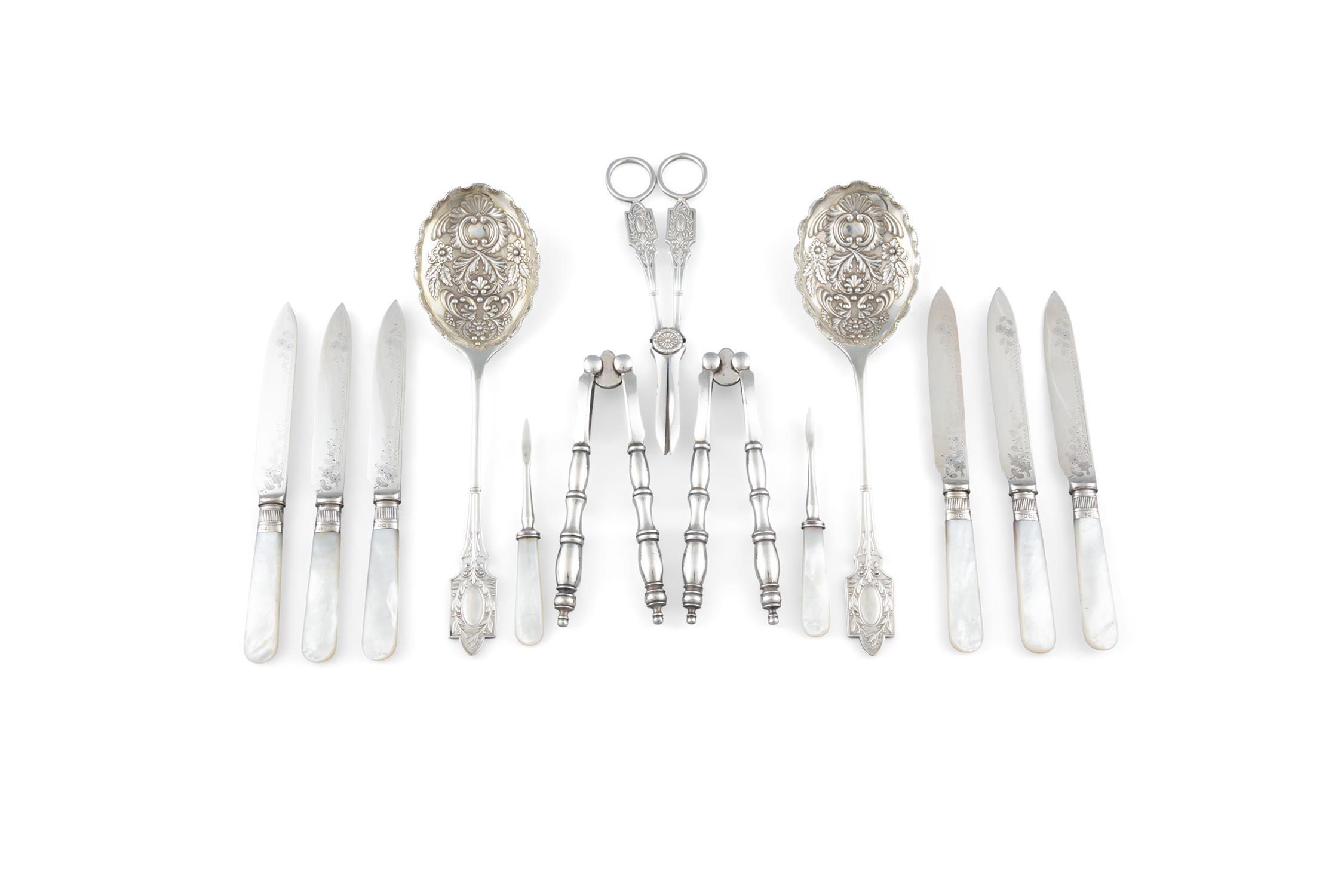 A VICTORIAN SILVER PLATED FRUIT AND NUT SERVING SET, in fitted case - Image 2 of 3