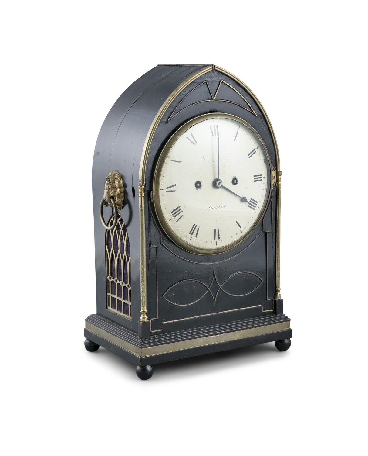 AN IRISH EBONISED MANTLE CLOCK, by Chancellor, Dublin, of arched shape, the body with lion mask - Image 2 of 3