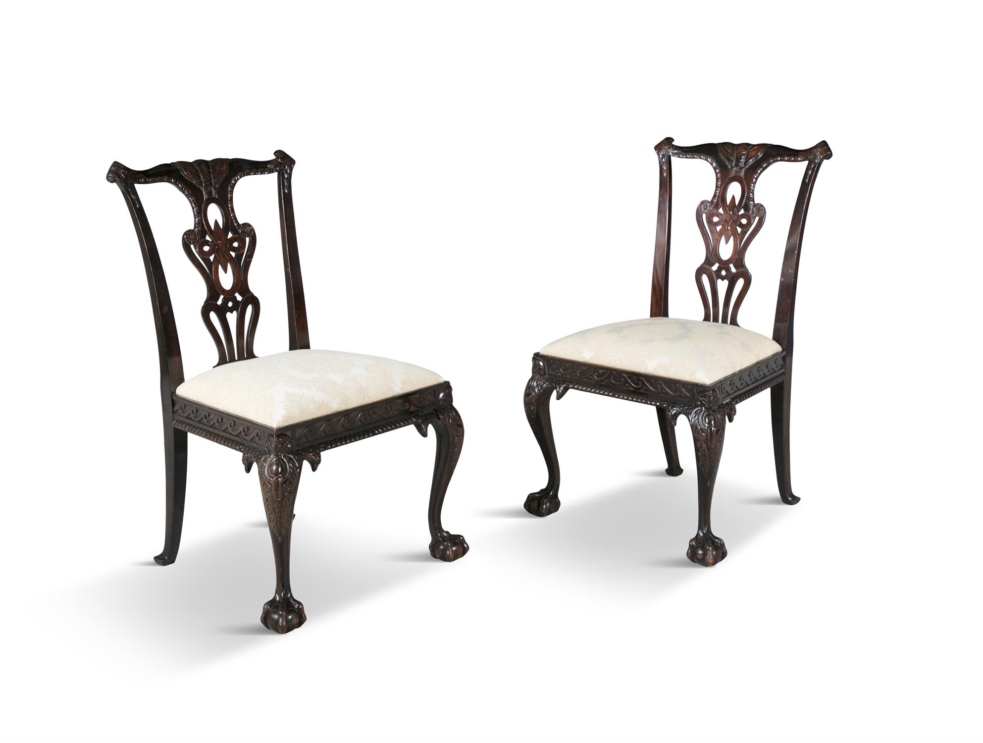 A PAIR OF GEORGIAN REVIVAL MAHOGANY DINING CHAIRS, 19th century, each with pierced vase shaped - Image 3 of 3