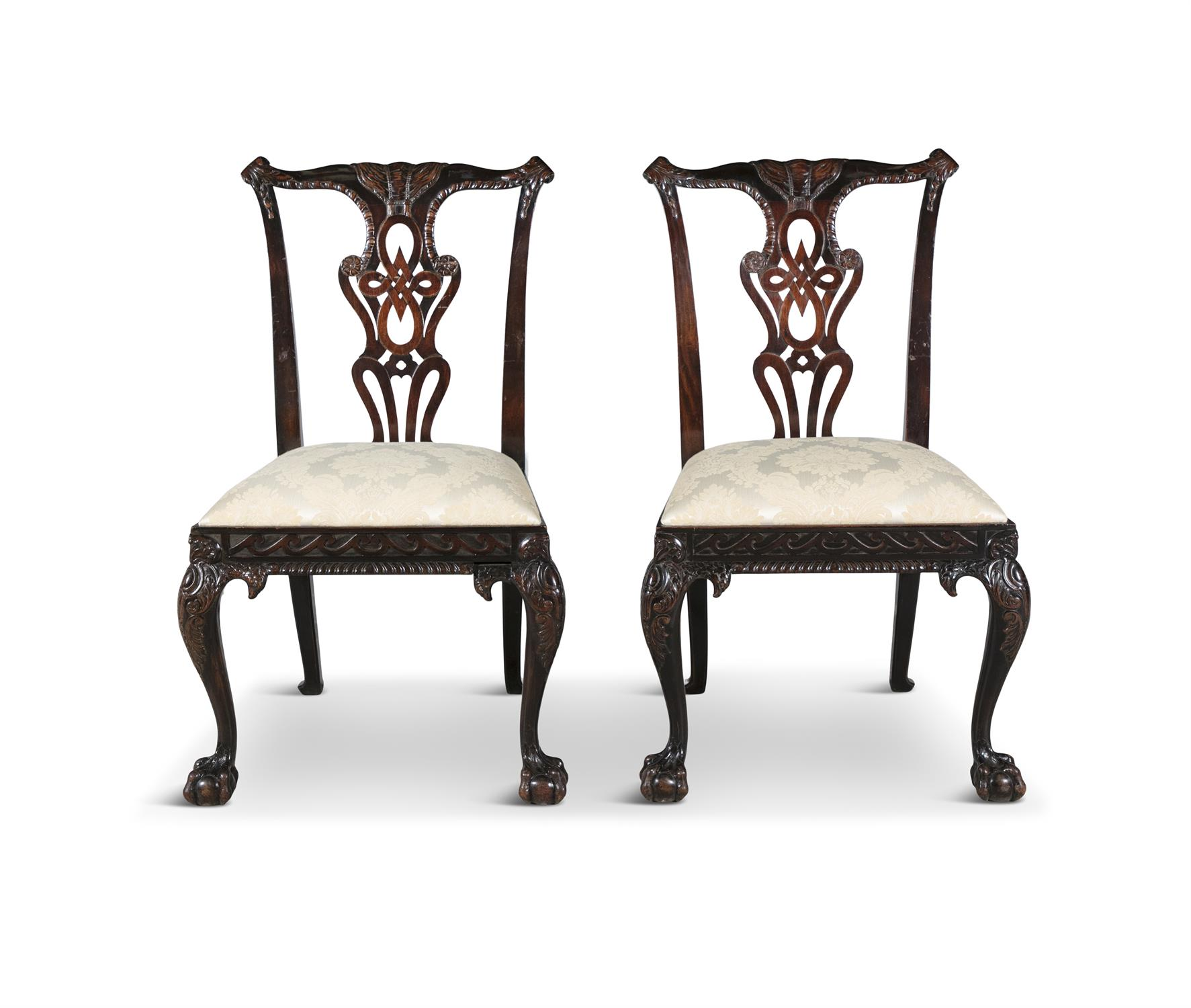 A PAIR OF GEORGIAN REVIVAL MAHOGANY DINING CHAIRS, 19th century, each with pierced vase shaped