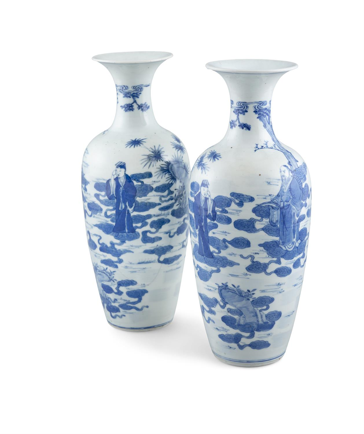 A PAIR OF CHINESE BLUE AND WHITE PORCELAIN VASES, of circular baluster urn form, 34.5cm high