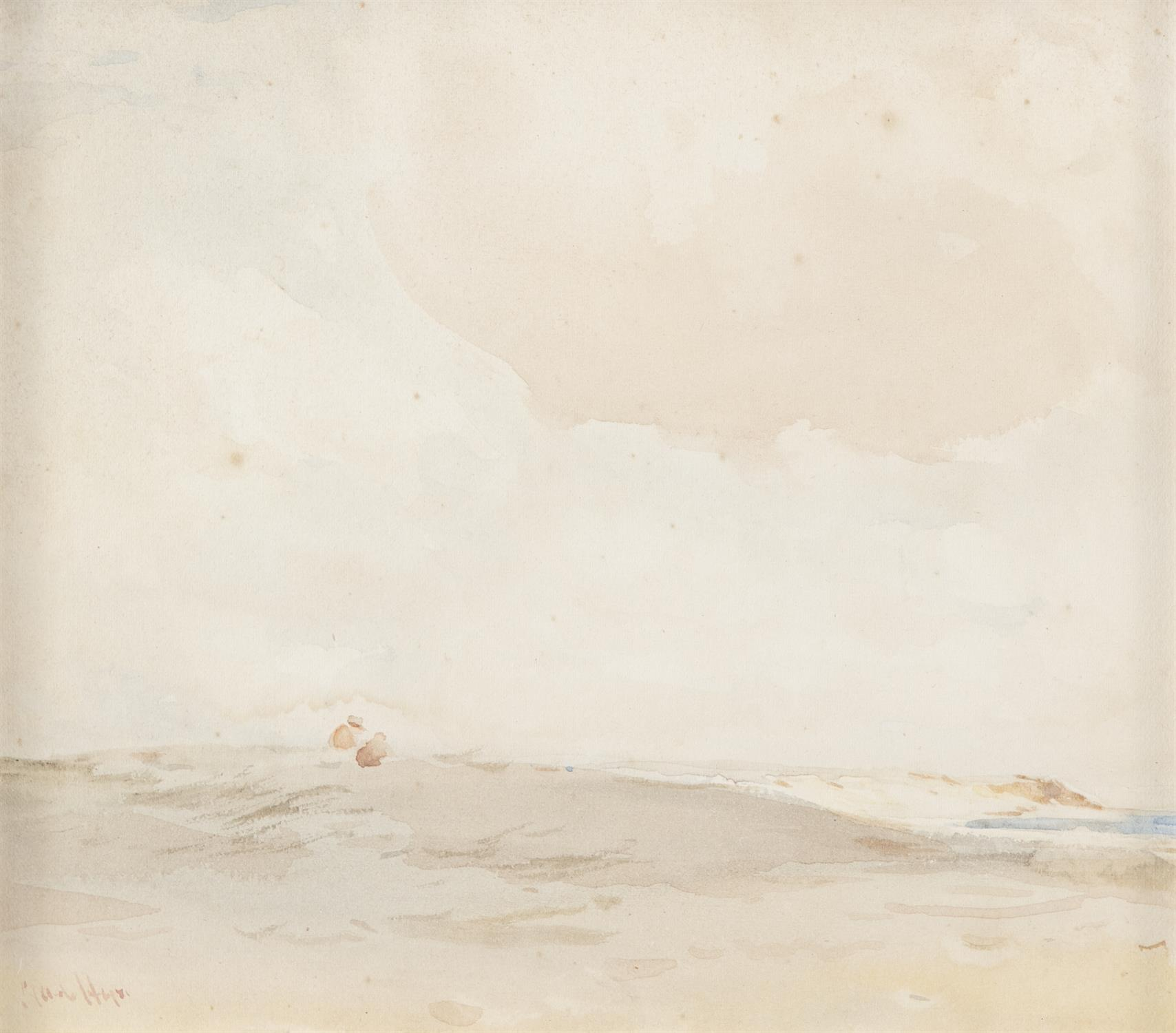 CLAUDE HAYES RI ROI (1852 - 1922) Figure on the Sand Dunes Watercolour, 14 x 16cm Signed With - Image 2 of 4