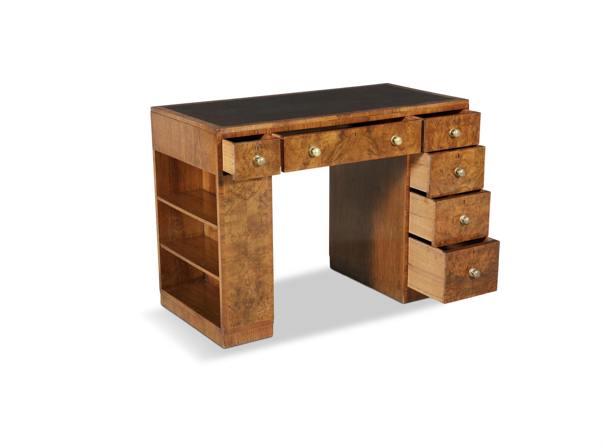 A MID 20TH-CENTURY WALNUT KNEEHOLE WRITING DESK, the rectangular top inset with brown leather - Image 3 of 3