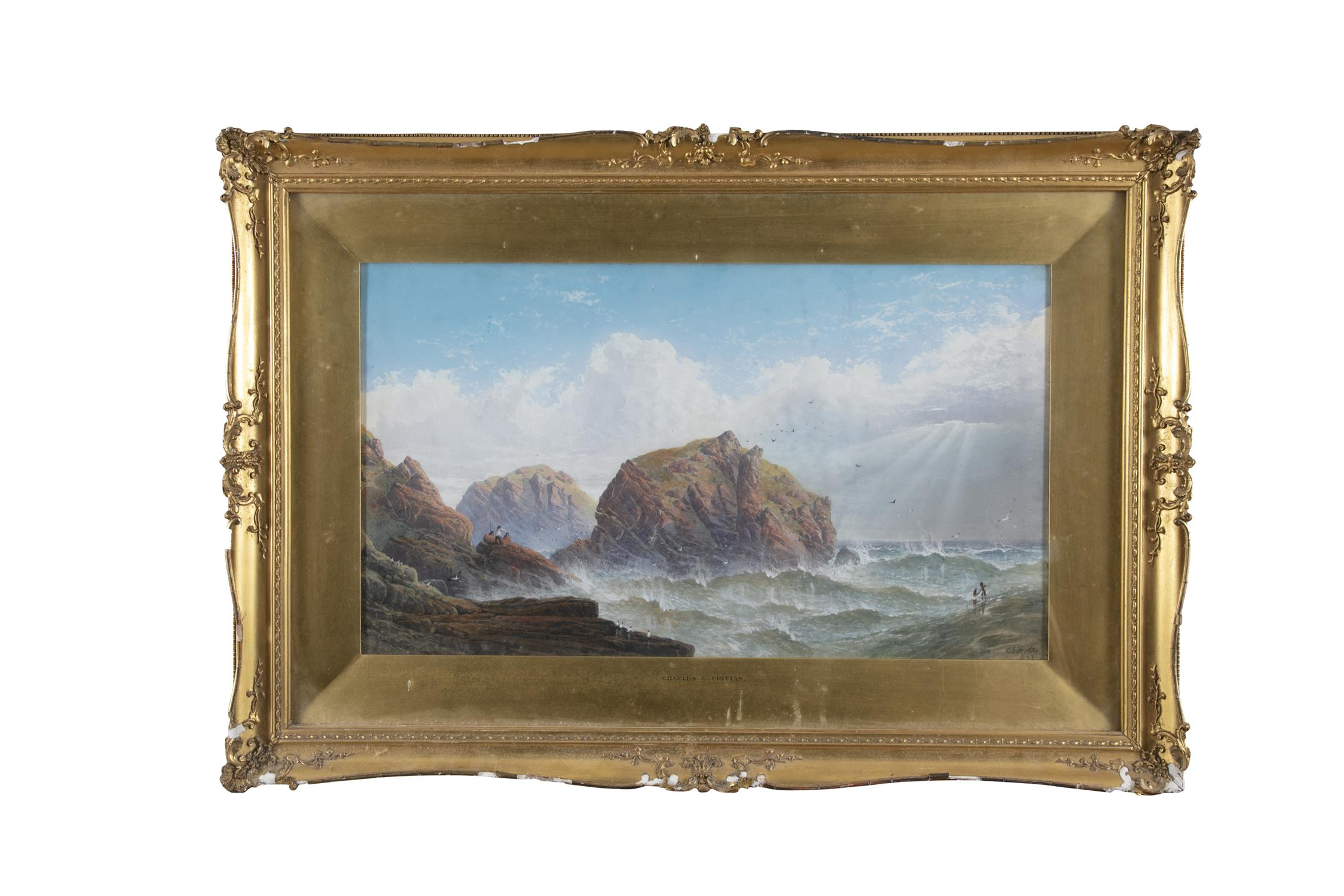 CHARLES E BRITTON (19TH CENTURY) Figures by a rocky coastline Watercolour, 33 x 59cm Signed and