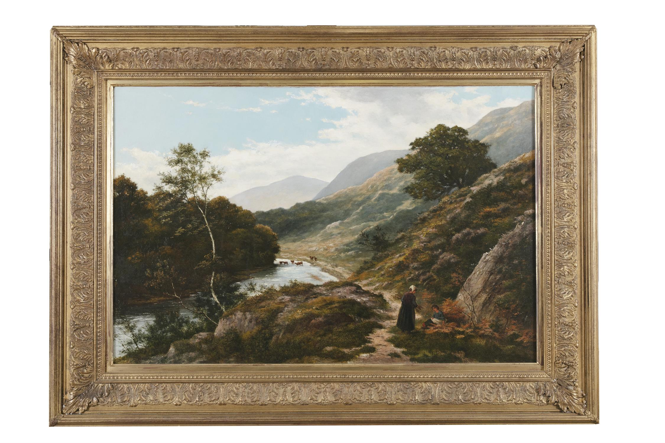 THOMAS SPINKS (1847-1927) Figures resting on a riverside path Oil on canvas, 60 x 91cm Signed