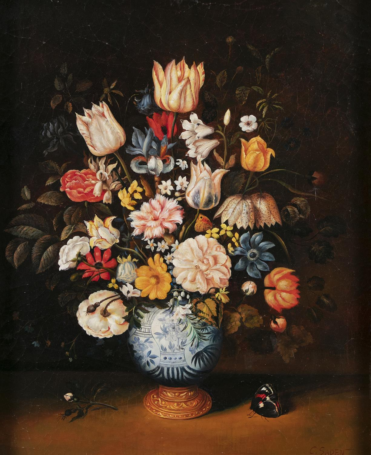 AFTER AMBROSIUS BOSSCHAERT THE YOUNGER (19TH CENTURY ) Still life with flowers in a Wan-Li Kraak - Image 2 of 4