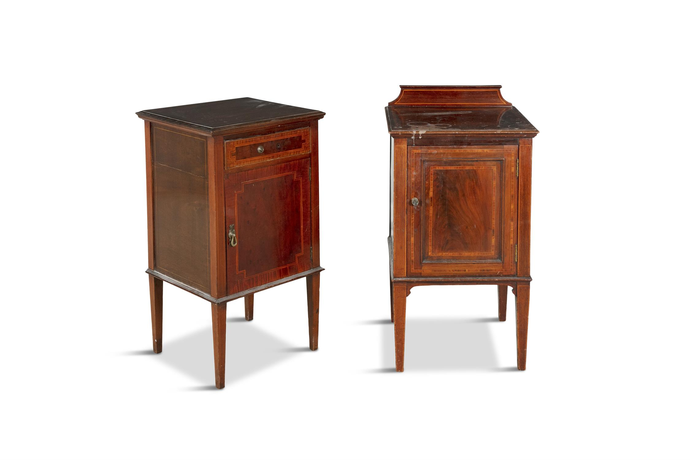 A PAIR OF 19TH CENTURY COMPACT MAHOGANY LOCKERS, in the form of miniature cabinets on stand, - Image 4 of 4