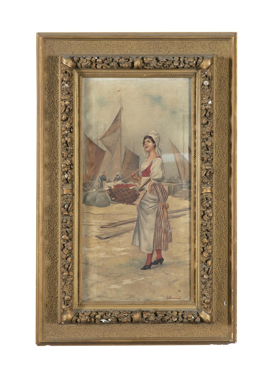 GARRINI (ITALIAN, 19TH CENTURY) The Lobster Vendor Oil on canvas, 51 x 24cm