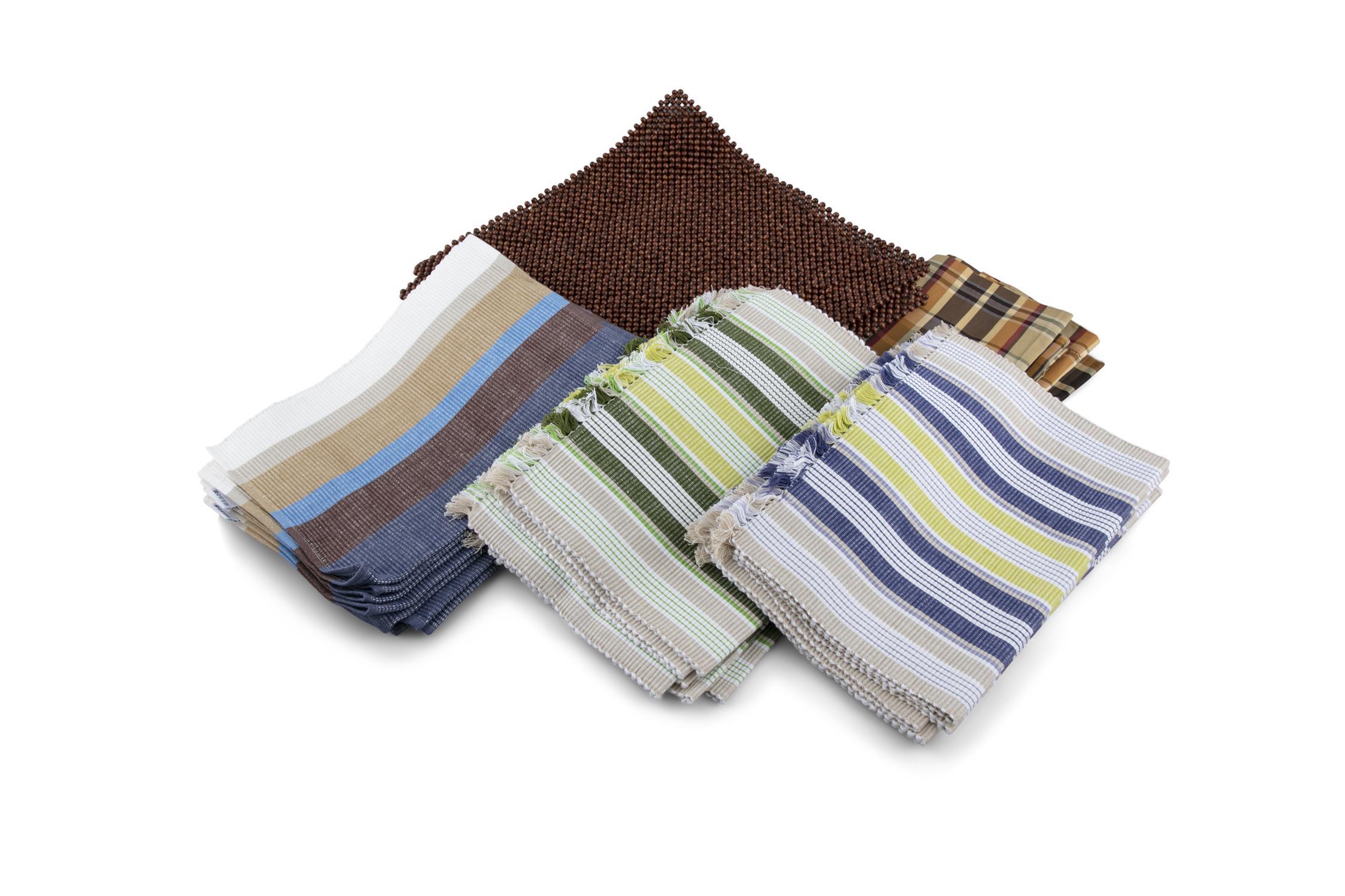 A COLLECTION OF COTTON PLACE MATS, check patterns napkins and a set of six bead places mats