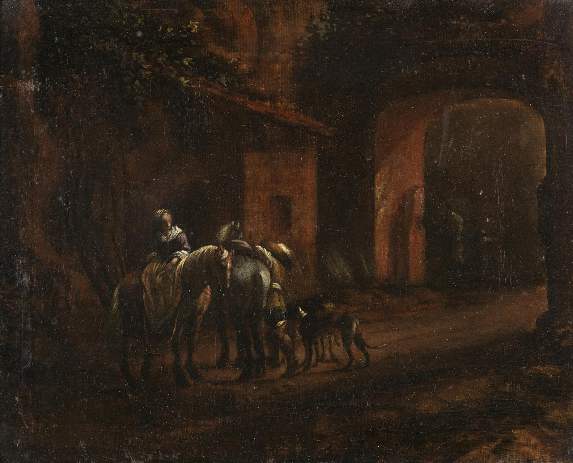 FOLLOWER OF WOUWERMANS (17TH CENTURY) Figures with horse and dogs in a village Oil on canvas, - Image 2 of 3