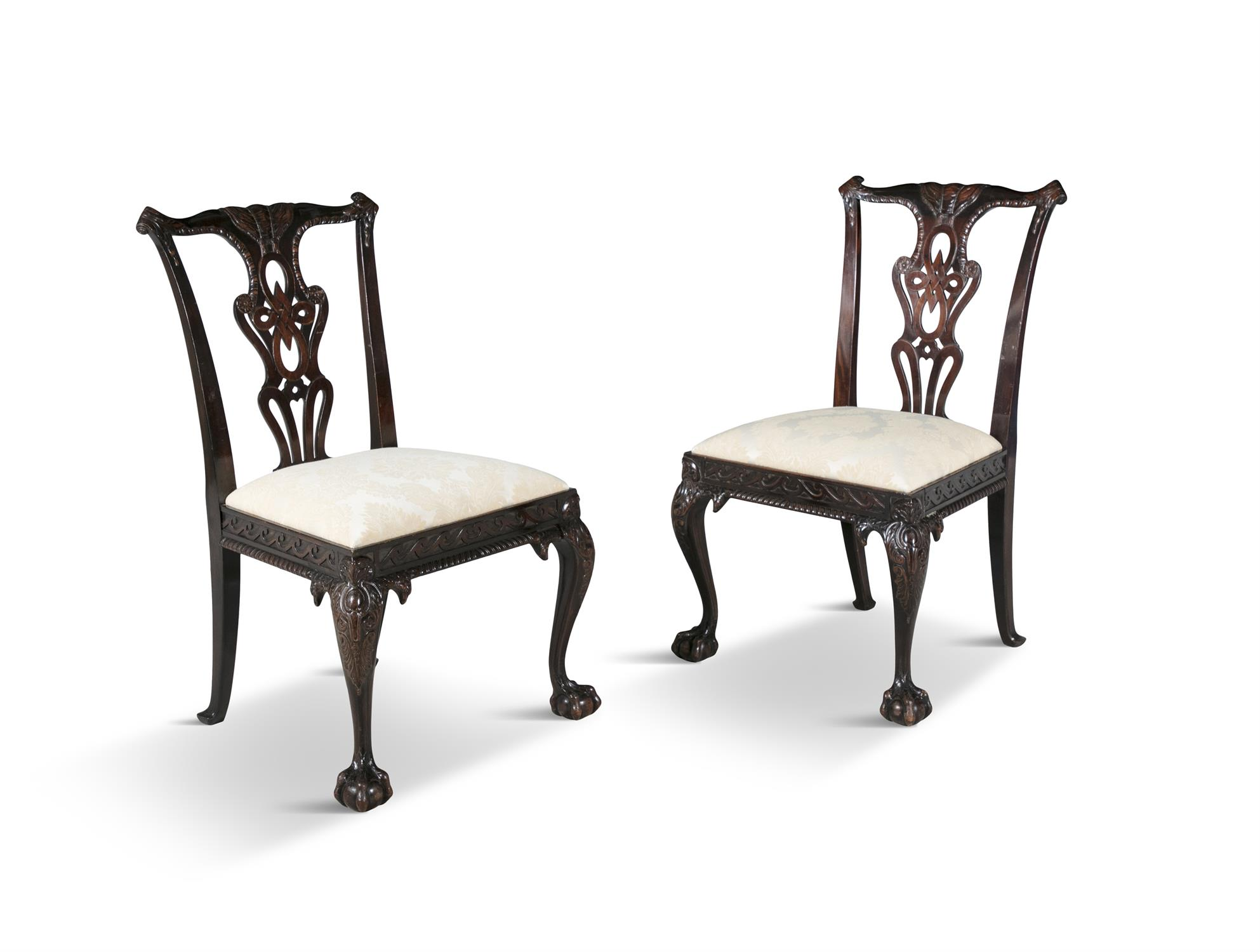 A PAIR OF GEORGIAN REVIVAL MAHOGANY DINING CHAIRS, 19th century, each with pierced vase shaped - Image 2 of 3