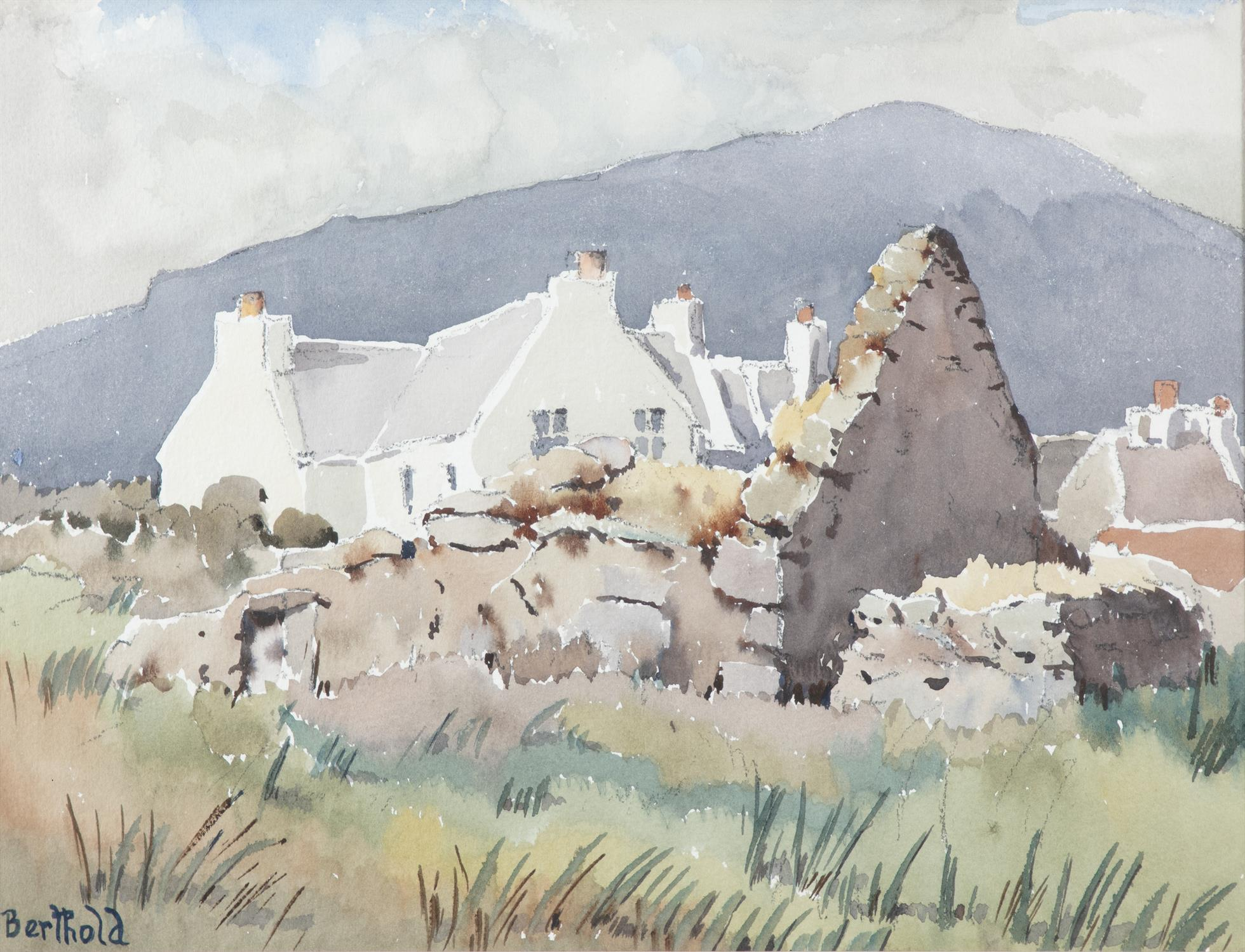 """BERTHOLD DUNNE Old Ruin, Keel, Achill Watercolour, 29 x 38.5cm (11.5 x 15"""") Signed; title - Image 2 of 4"""