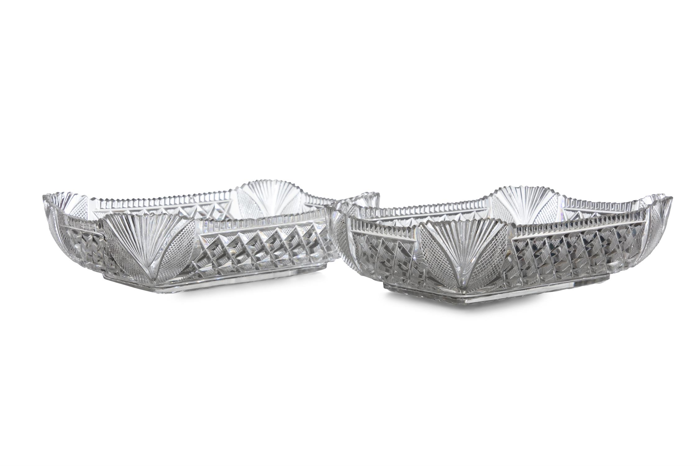 A PAIR OF IRISH CUT GLASS SERVING DISHES, c. 1900, each rectangular form with shell cut corner - Image 3 of 3