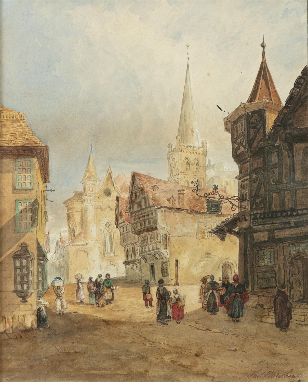 THOMAS P. BERTHOU (19TH CENTURY) Street Scene, Mayenne Watercolour, 31.5 x 24.7cm Signed, - Image 2 of 4