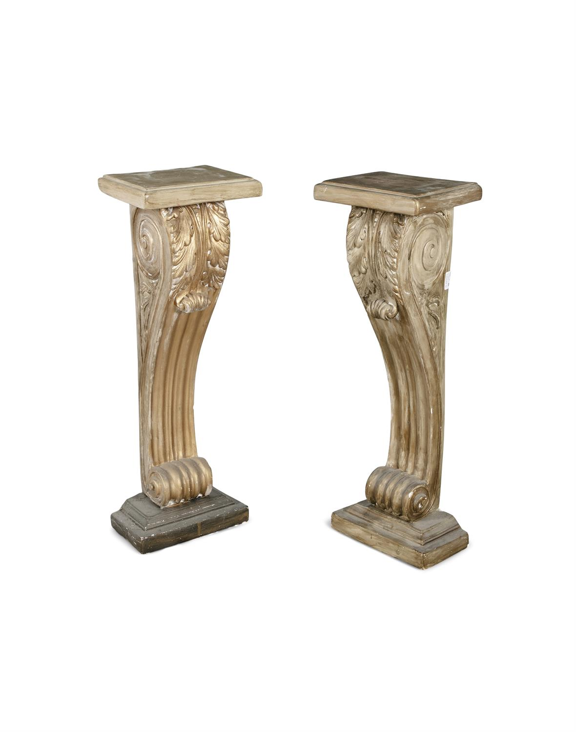A PAIR OF MODERN PLASTER PILASTERS, painted gold. 81cm high, 28cm wide, 21cm deep - Image 2 of 2