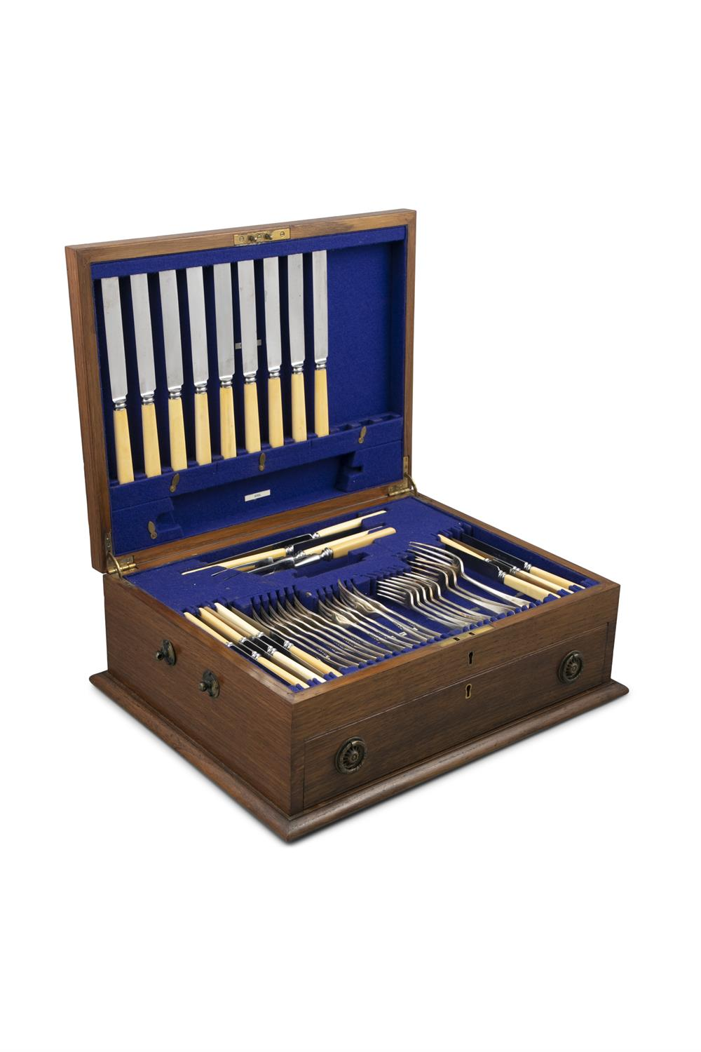 AN OAK CASED CANTEEN OF SILVER HANOVERIAN PATTERN AND BONE HANDLED CUTLERY, Sheffield c. - Image 2 of 3