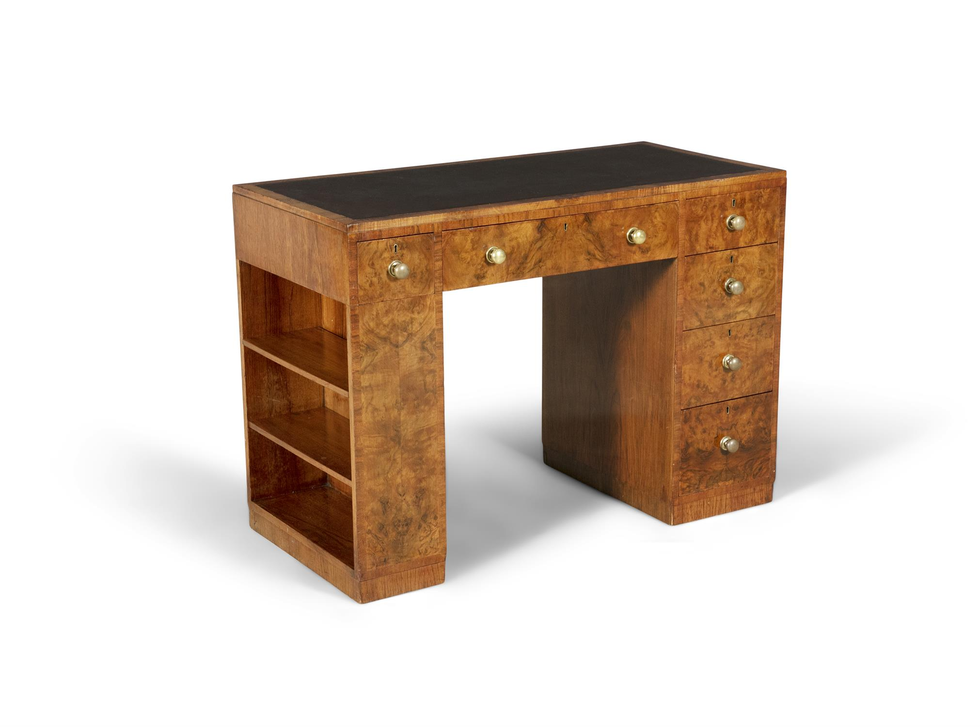 A MID 20TH-CENTURY WALNUT KNEEHOLE WRITING DESK, the rectangular top inset with brown leather - Image 2 of 3